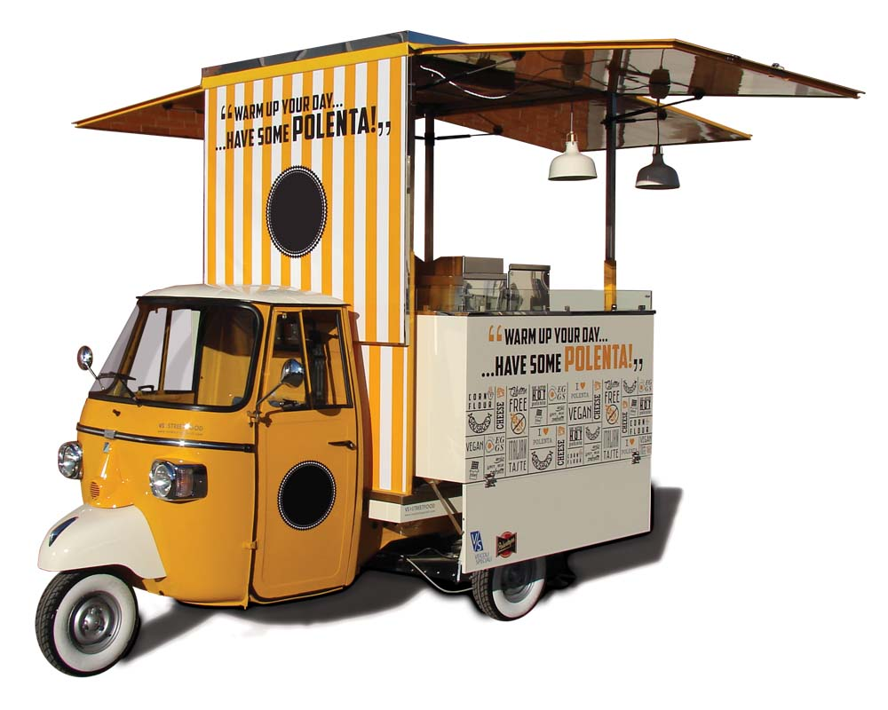 food piaggio ape car for vending italian polenta in new. Black Bedroom Furniture Sets. Home Design Ideas