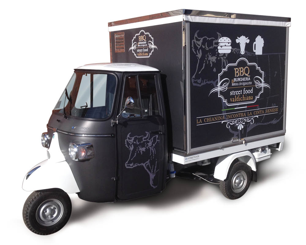 Valdichiana BBQ is a food van Ape car for vending hamburgers