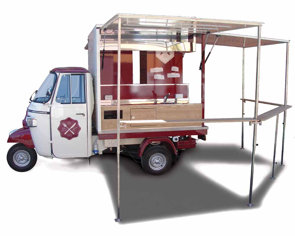 vintage mobile food shop piaggio ape car bastian contrario. Black Bedroom Furniture Sets. Home Design Ideas