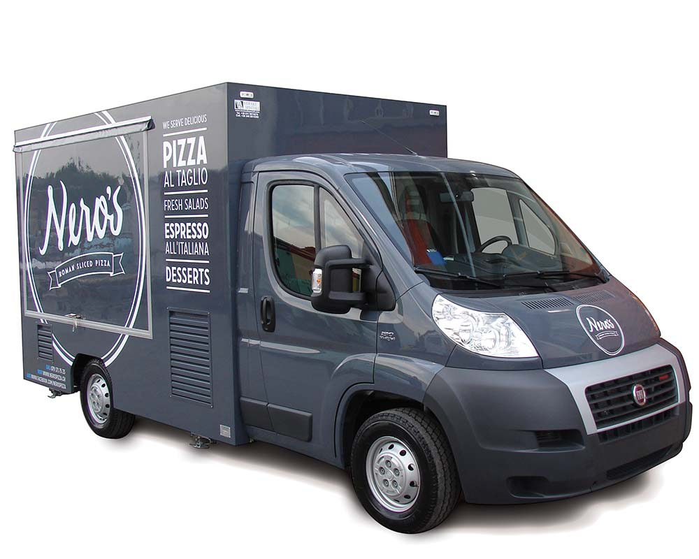 Ducato Food van modified and equipped for the enterprise Nero's Pizza