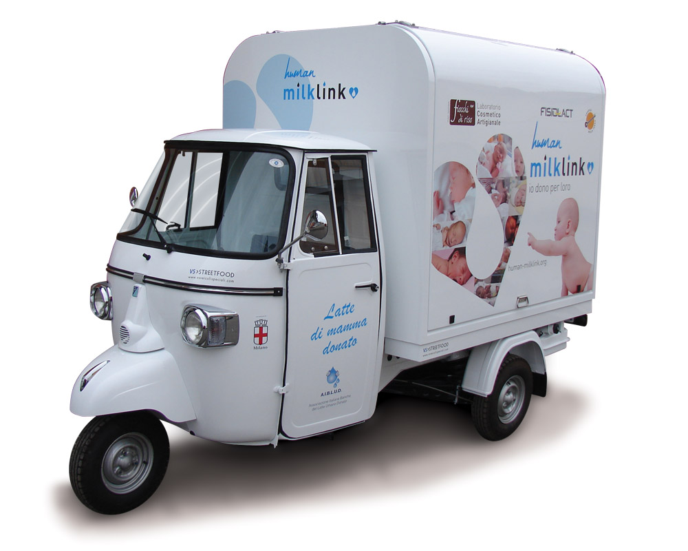 Promotional vehicle fitted out on Piaggio ape v-curve for Human Milk Link. Human milk can be stored from the donors at home to save the life of newborn children