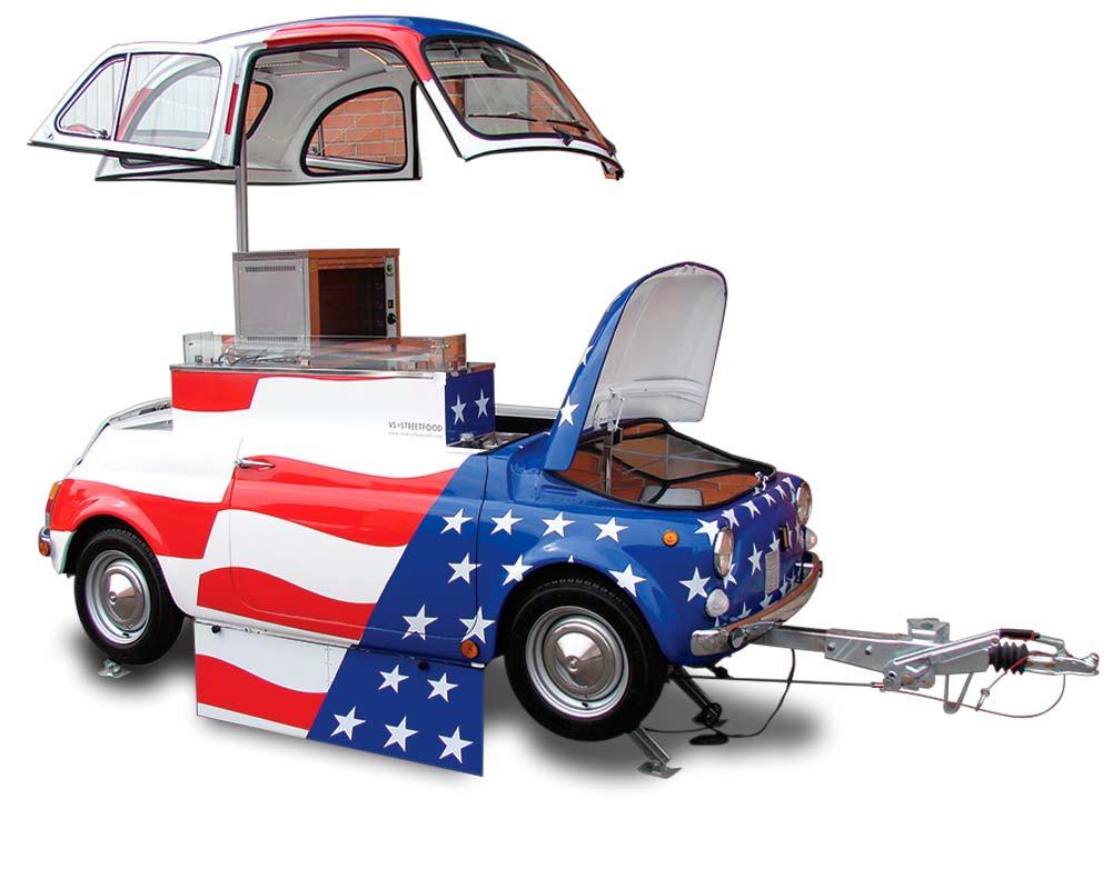 veicolo d'epoca fiat 500 vintage - rimorchio per attività pubblicitaria e promozionale
