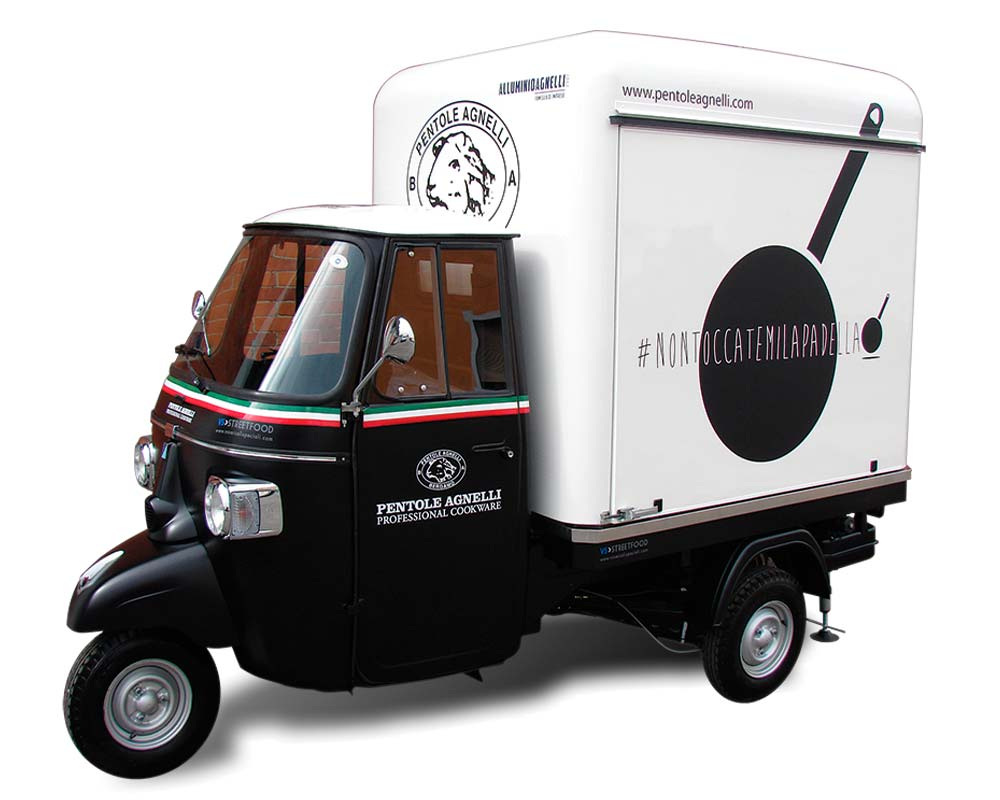 promotional piaggio apecar for professional cooking