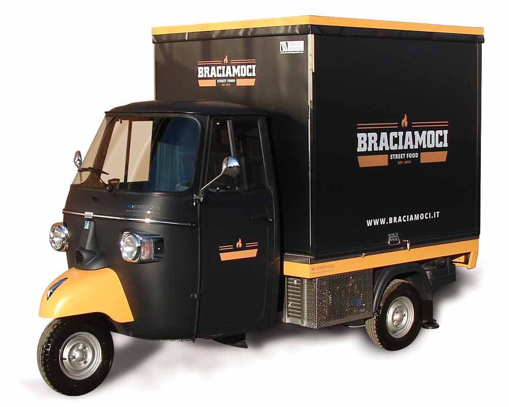 Ape car designed for selling grilled meat - Braciamoci
