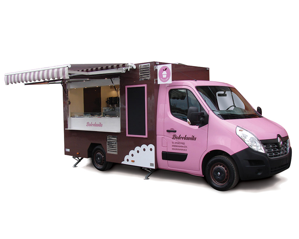 Dolcevita is a Food Van Renault Master with kitchen. Pink and brown colour