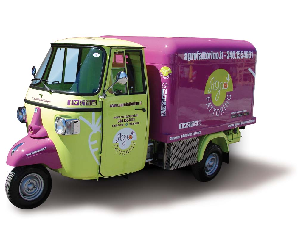Piaggio truck modified into food catering truck for vending genuine vegetables