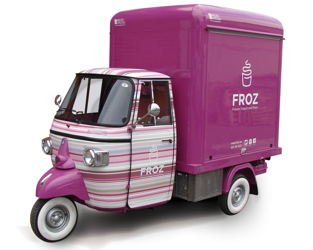 Froz is an Ape car modified for vending frozen yogurt and ice-cream in the streets and at events