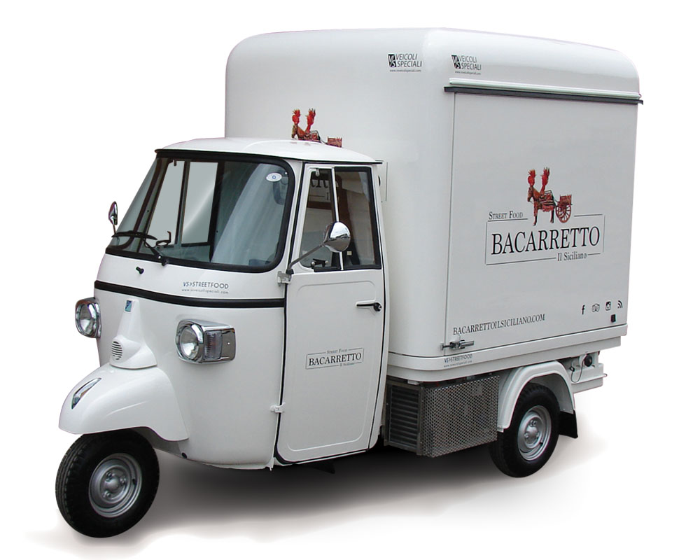 Bacarretto is a customised street food Ape Car for vending sicilian delicacies