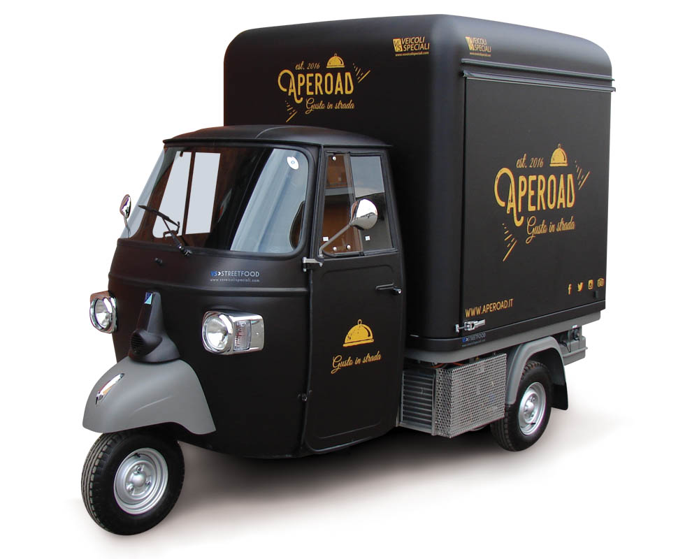 Personalized street food truck designed on Apecar V-Curve all black
