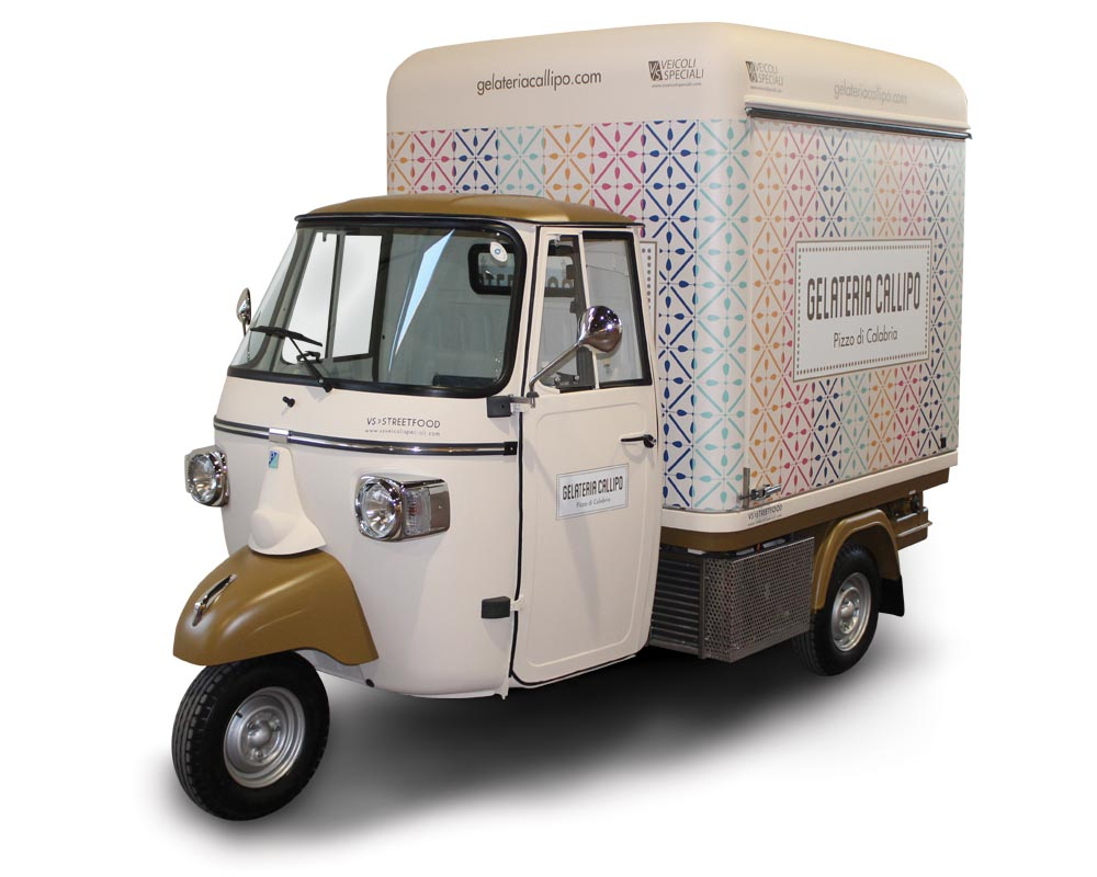 mobile ice cream shop on piaggio ape v curve gelateria. Black Bedroom Furniture Sets. Home Design Ideas