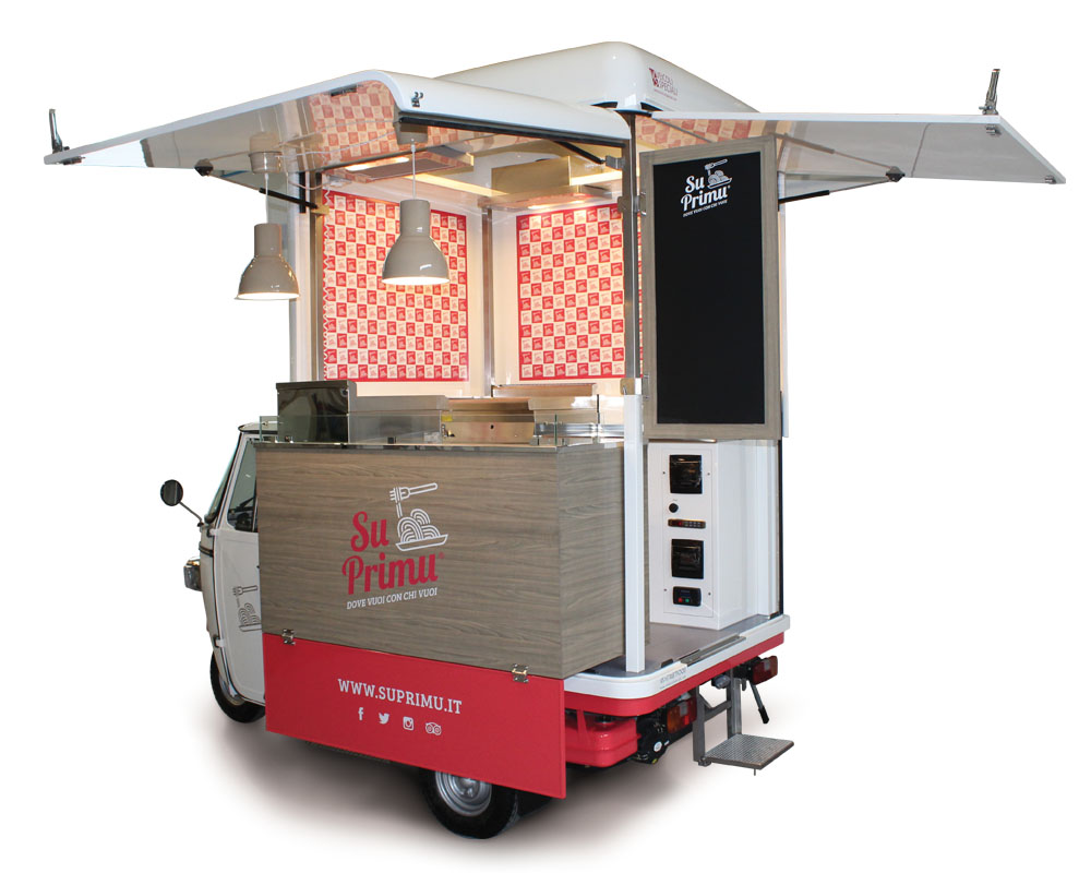 Su Primu is a food van built on Ape Piaggio V-Curve