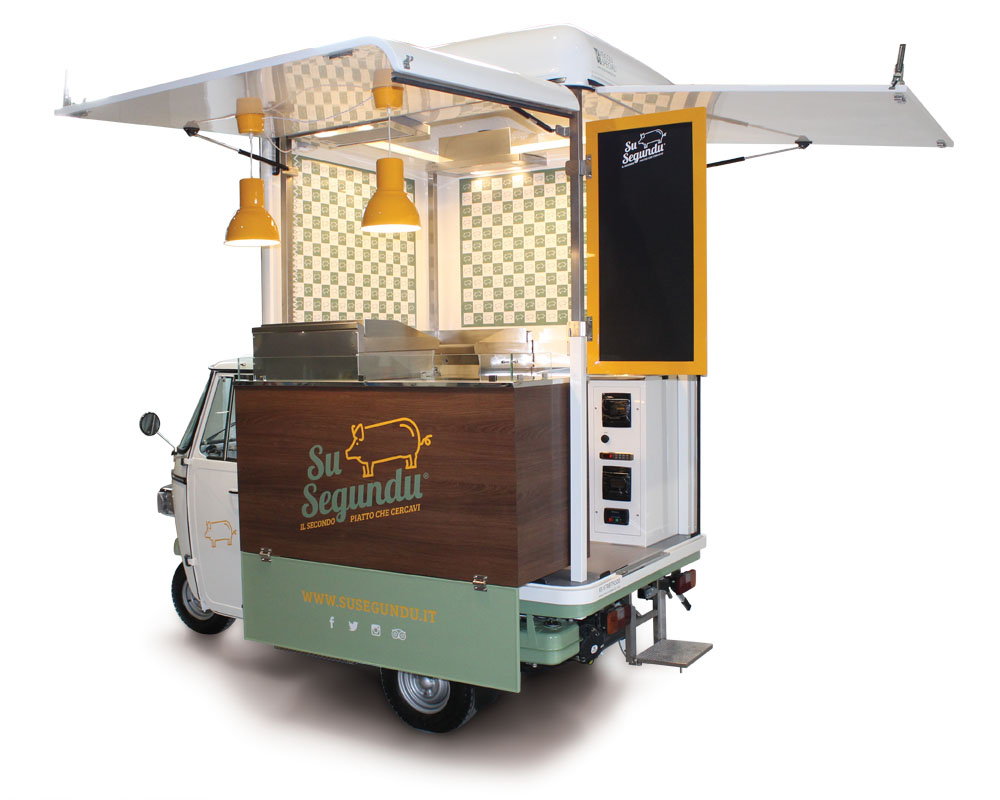 Food truck piaggio Su Segundu is a street vending business vehicle travelling through the streets of sardinia
