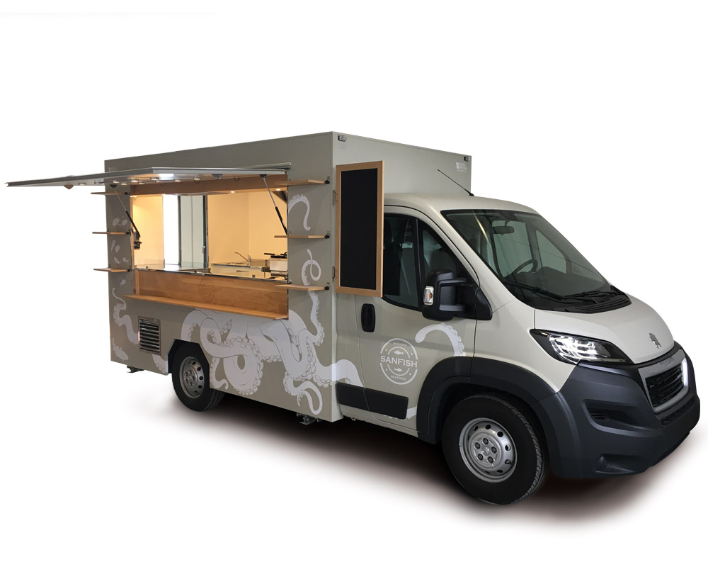 Peugeot Boxer Food Van totally customised and equipped with professional kitchen for fish street food