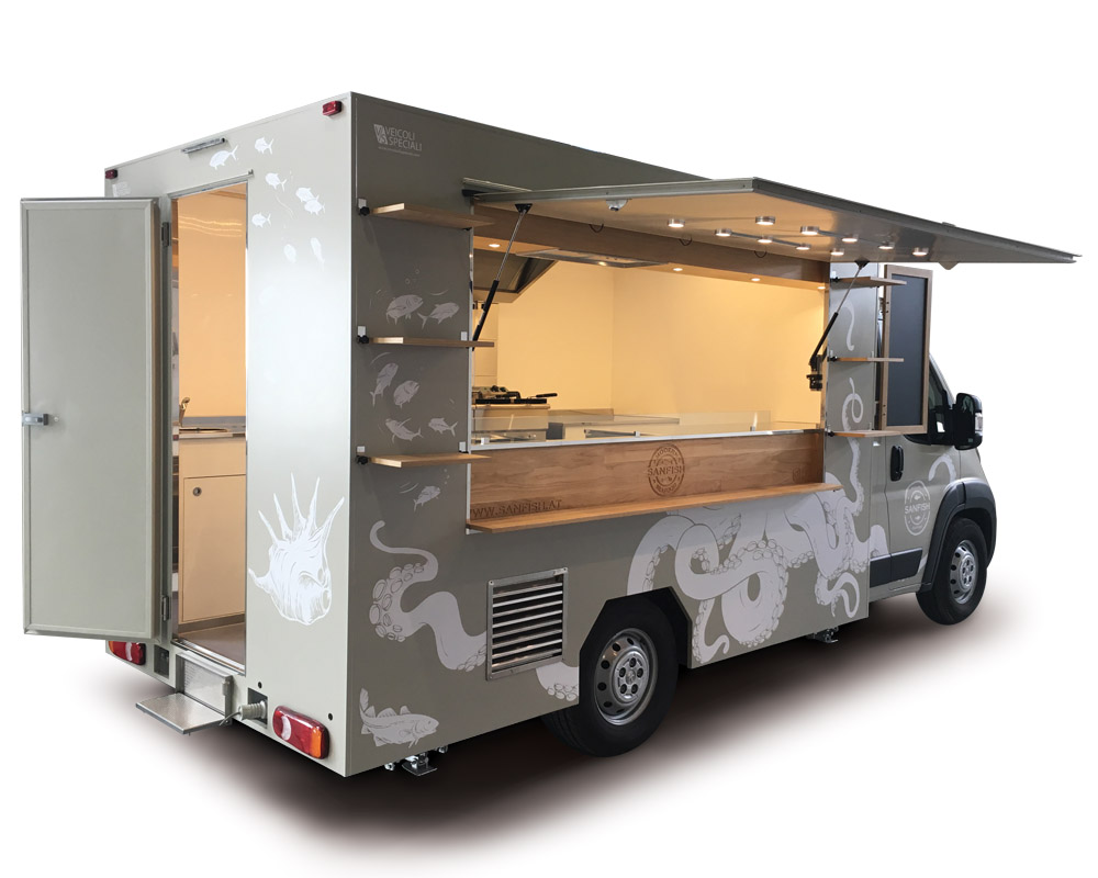 Sanfish is a Peugeot Boxer transformed into Food Van for fish vending. Totally customised vehicle for mobile street food business