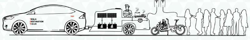tour promozionale tesla con auto elettrica e carrello street food
