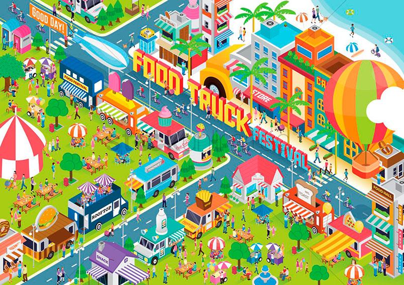 I 10 food truck festival più popolari degli USA simbolizzati in una immagine
