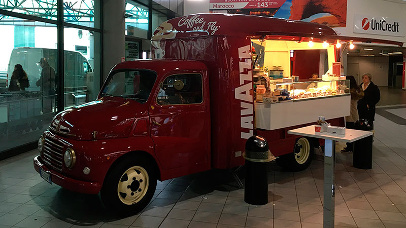 lavazza vintage food truck at turin airport