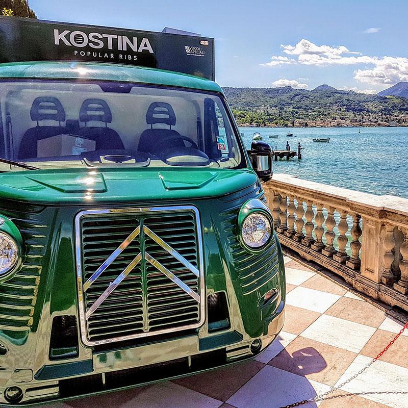 vintage food truck citroen type h per promuovere brand e prodotti a eventi