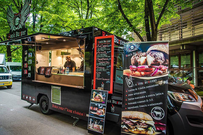 rock burger food truck nero per vendita hamburger