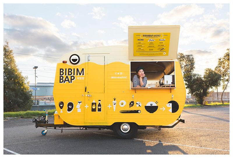 bibimbap yellow food caravan in melbourne for vending corean dishes