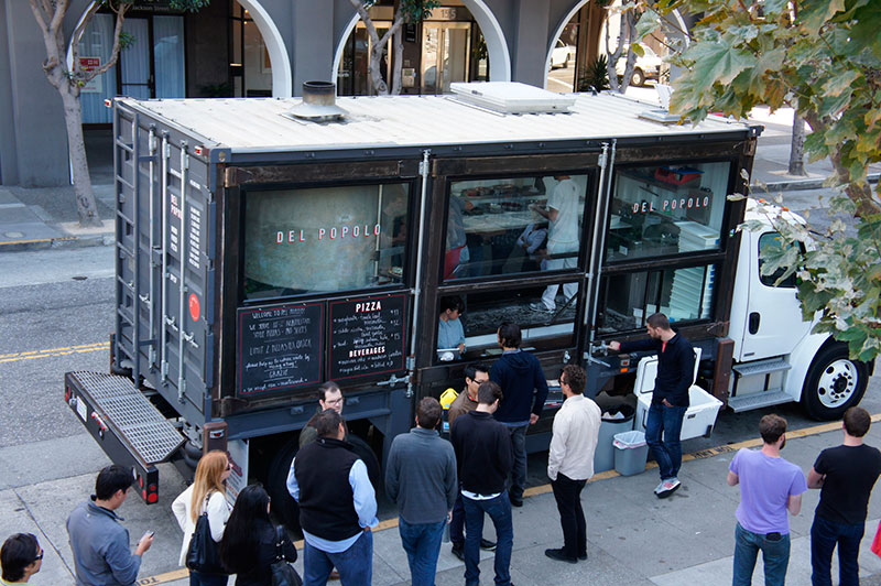del popolo pizza food truck built in a maritime container