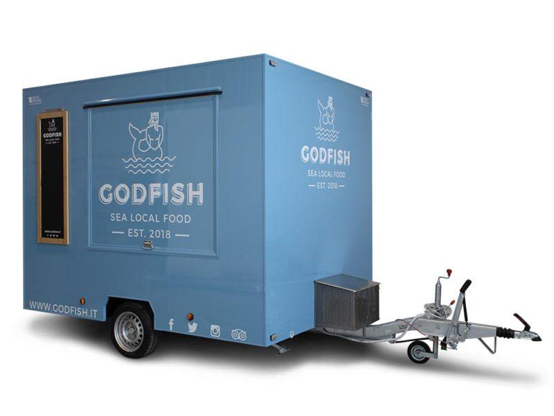godfish carrello street food per vendita ambulante piatti di pesce