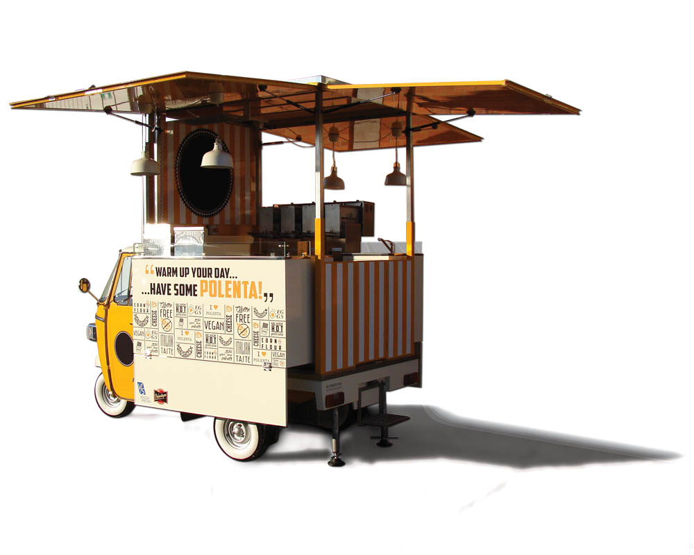 Food Piaggio Ape Car for vending Italian polenta in New York (USA)