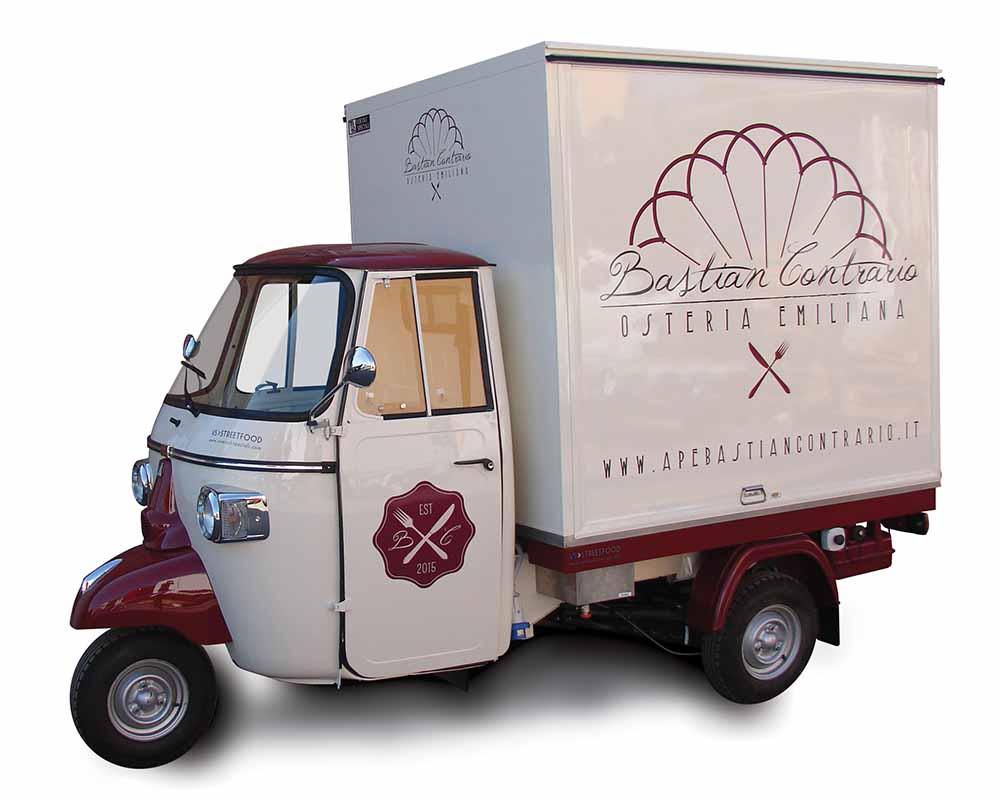 Vintage Ape Car converted in food van for vending fried gnocchi, tigelle and fresh pasta