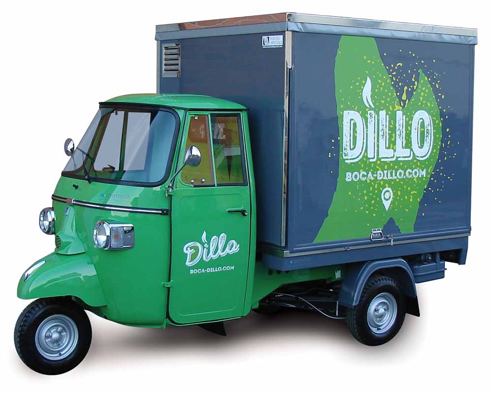 Piaggio apecar converted in food van for street vending. Sandwiches, panini, bocadillos style
