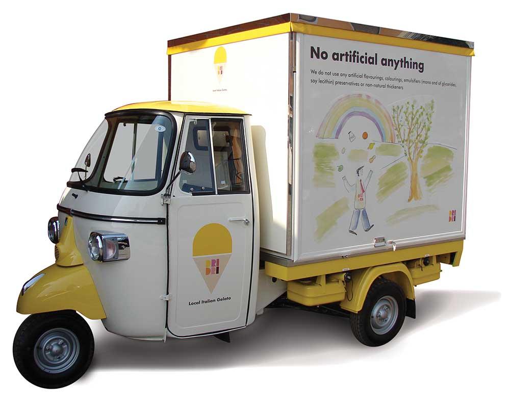 Mobile ice-cream truck built on Piaggio Ape Car sold in Dubai