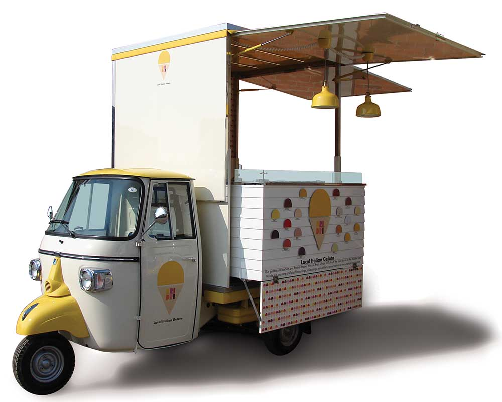 Mobile ice-cream shop built on Piaggio truck in Dubai
