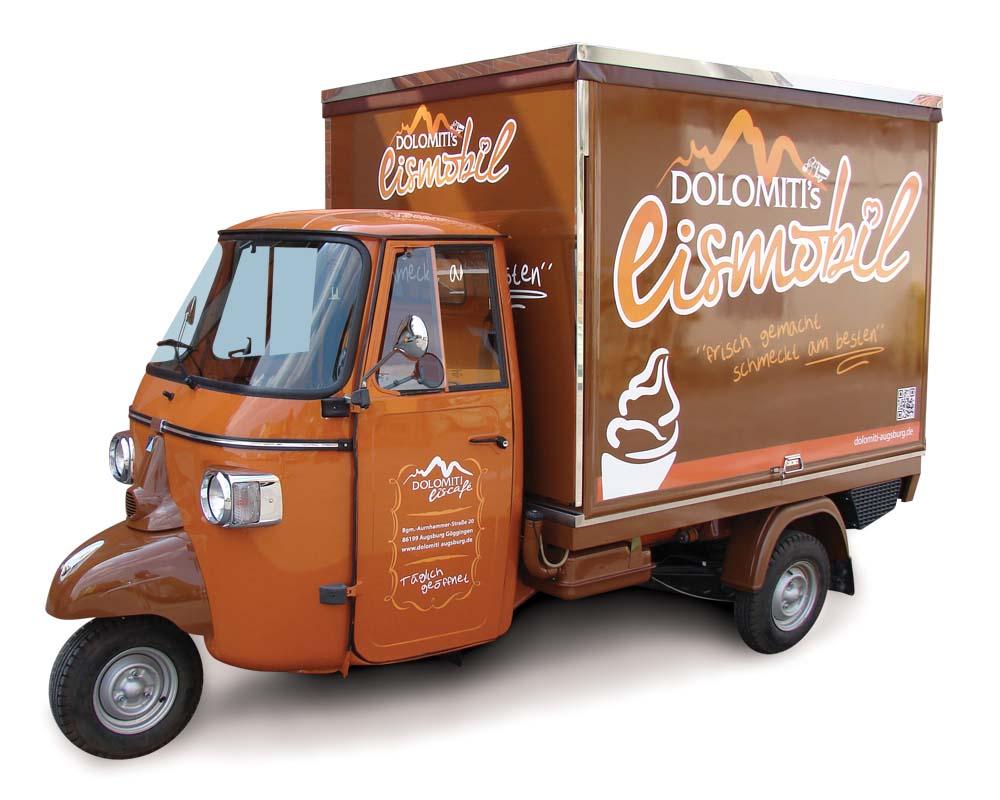Eiscafe Piaggio Ape Eisdiele Und Mobile Eiswagen Im Augsburg