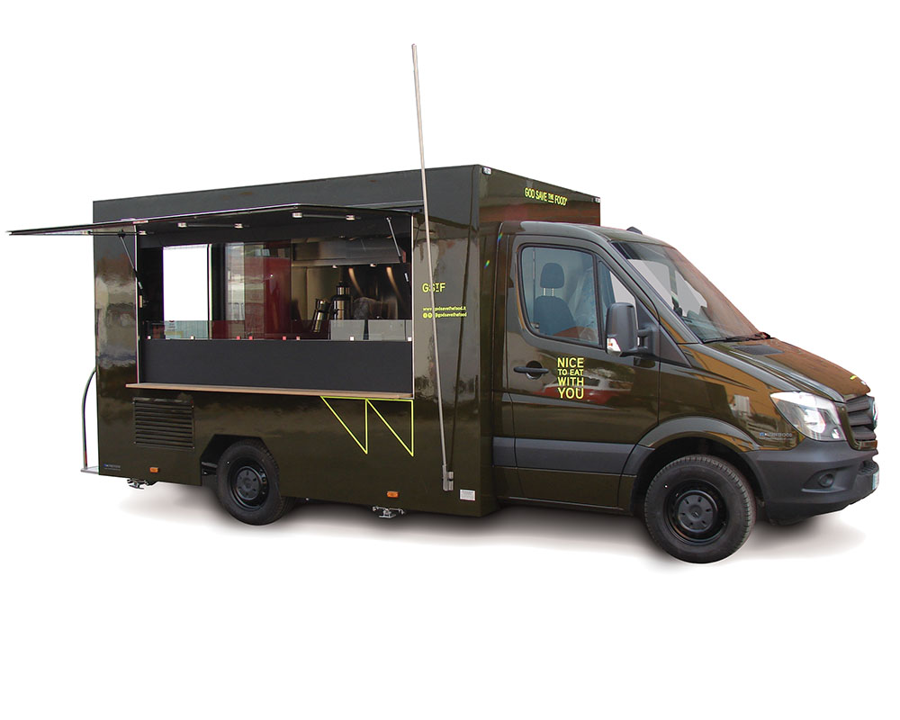mercedes Sprinter modified as food van with kitchen for GStF Restaurant
