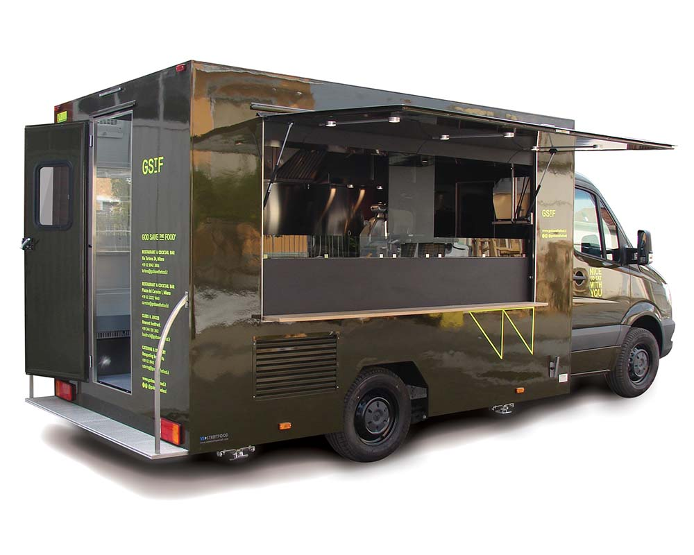 Food van mercedes Sprinter serving sandwiches and drinks for GStF Restaurant