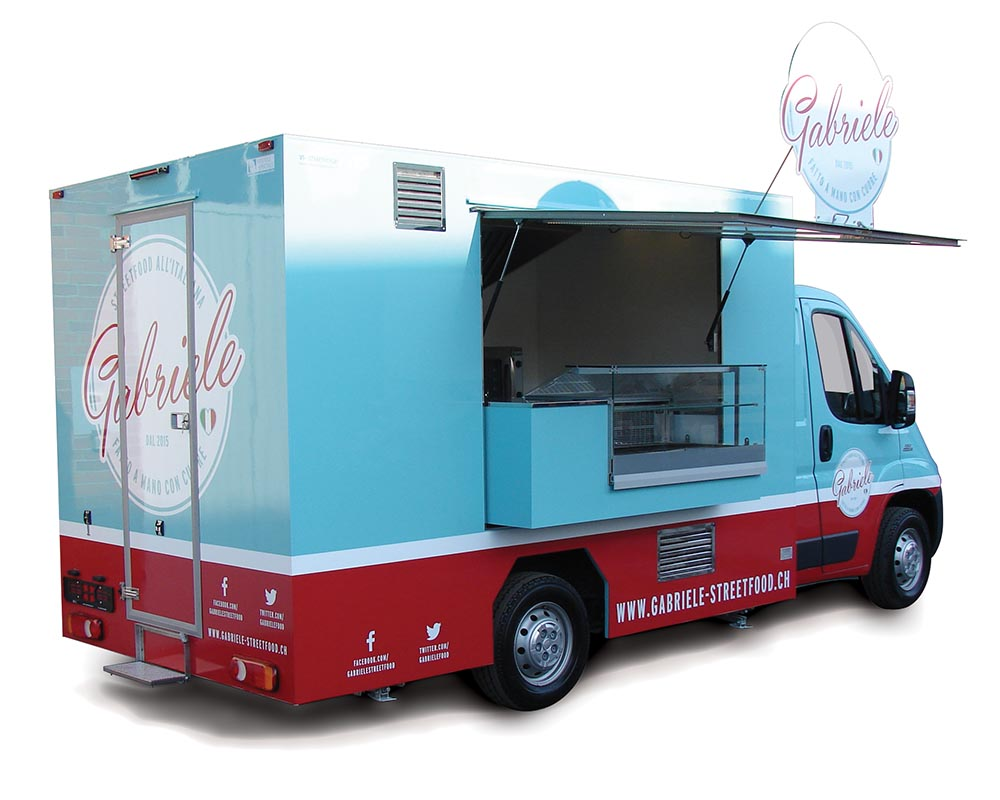 Fiat Ducato Food Truck selling hand-made gnocchi skewers in Switzerland