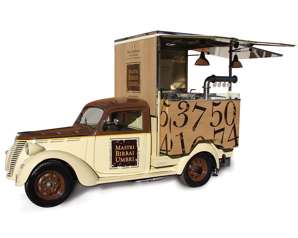 Vintage Fiat Musone transformed into Food Truck for vending artisanal beers