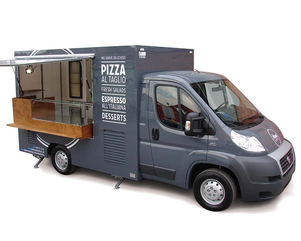 Fiat Ducato van transformed into mobile restaurant for Nero's Pizza in Switzerland