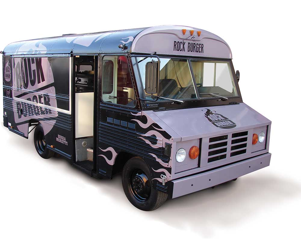 Food Bus designed for vending hamburgers at festivals and events