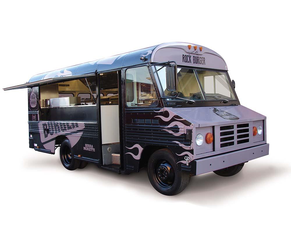 bus food truck rock burger veicolo vintage per lo street food. Black Bedroom Furniture Sets. Home Design Ideas