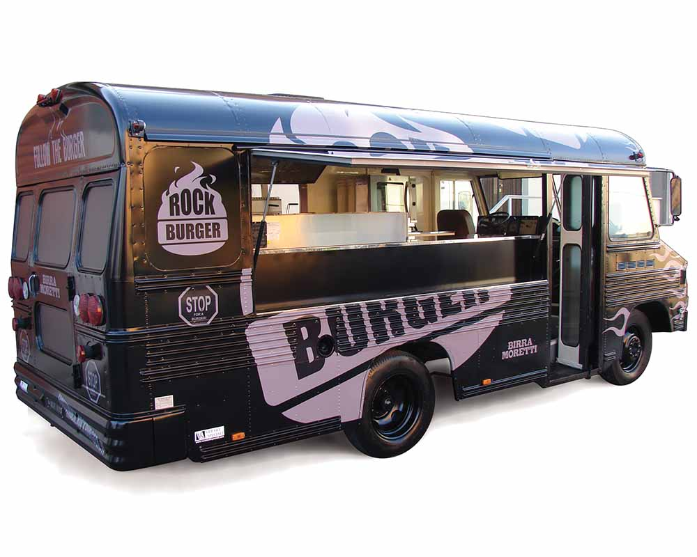 """BluBird """"Rock Burger"""" is a Bus converted into food truck for vending hamburgers"""