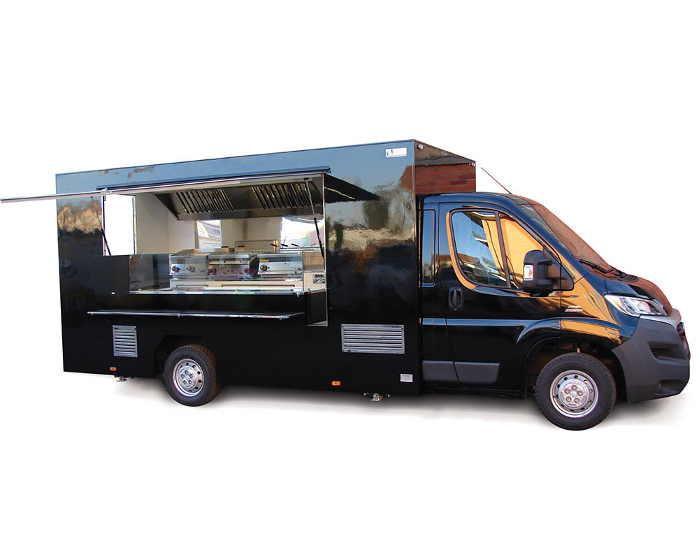Ducato van converted in mobile restaurant for food cooking and catering