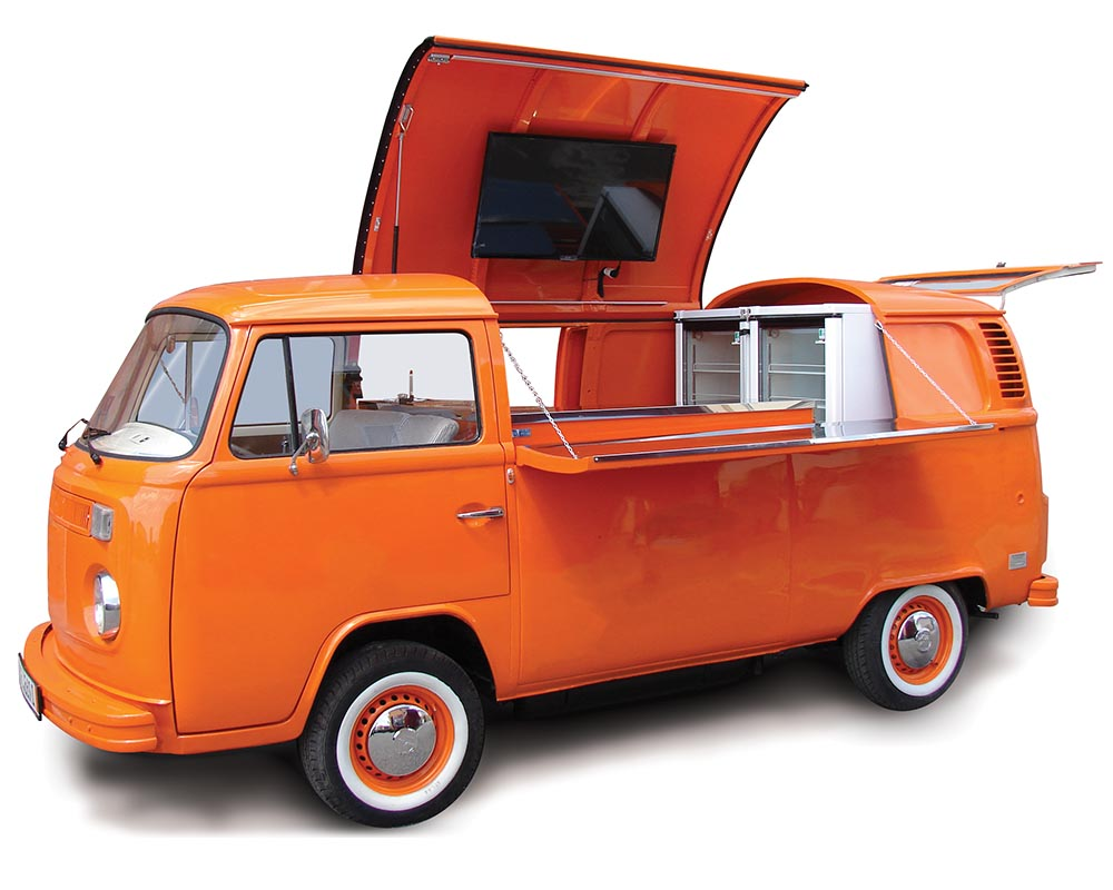 Vintage Volkswagen Bus T2 converted in food bus for a mobile experience