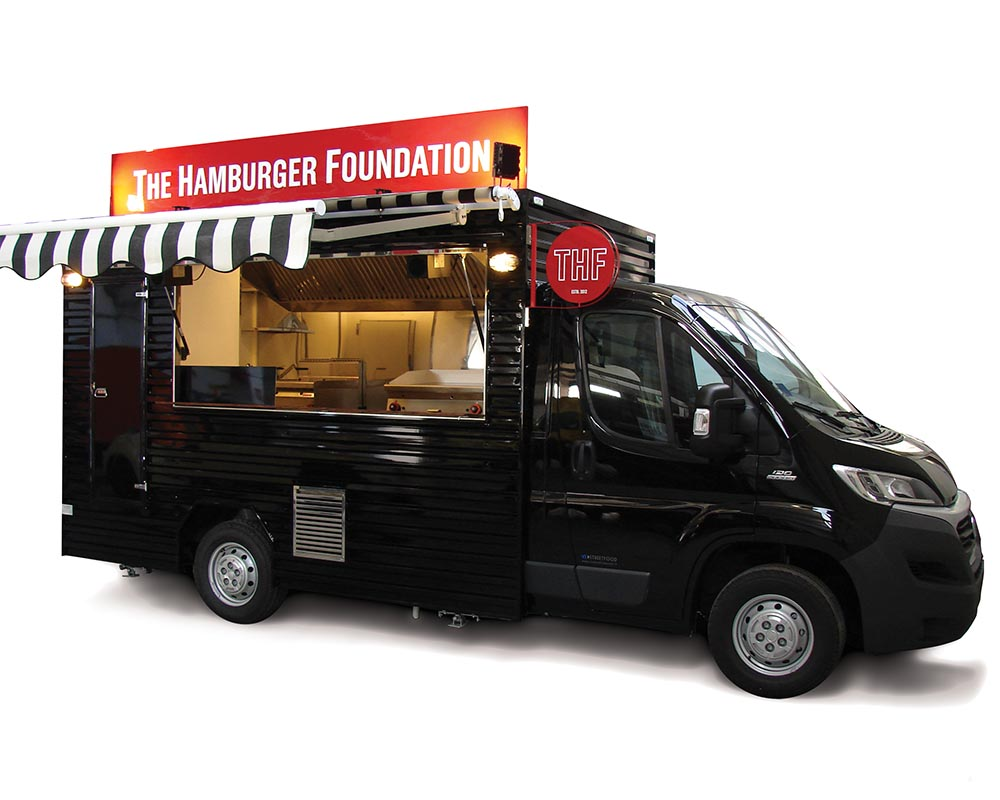 Ducato food truck selling hamburgers in switzerland. All black colour