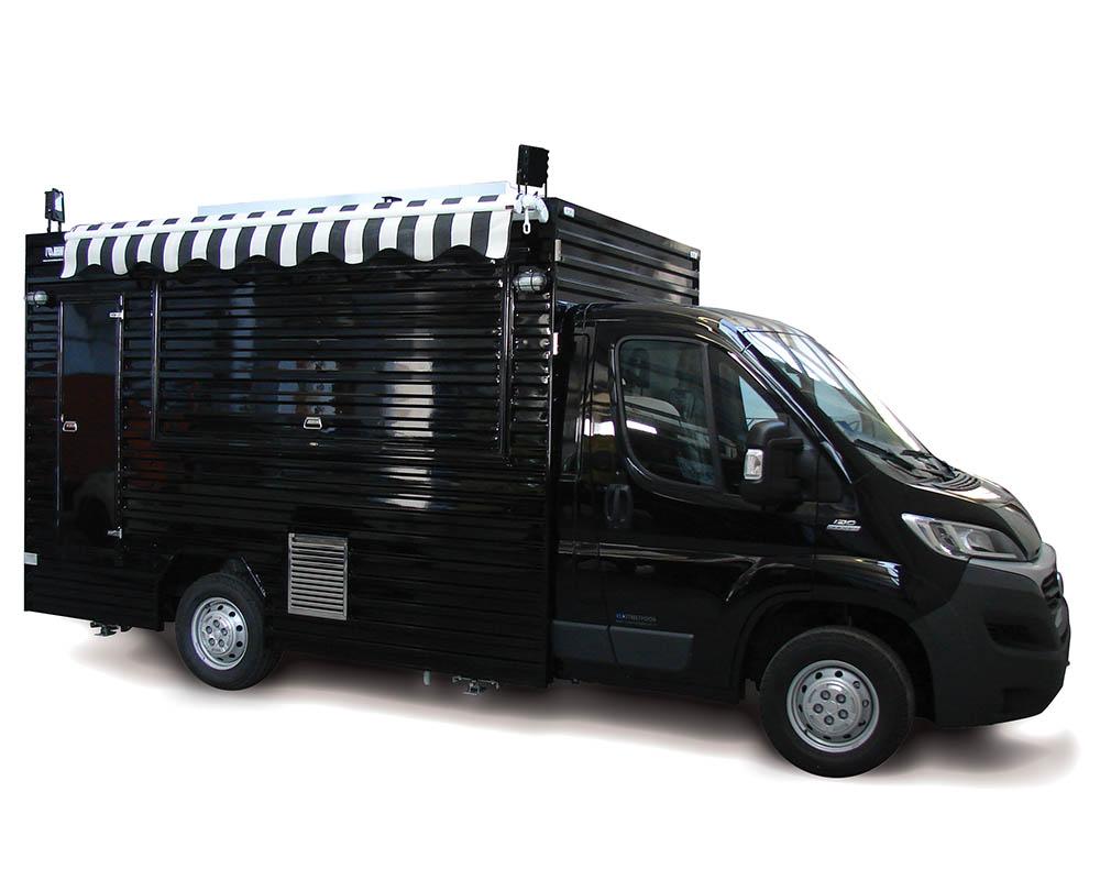 Food Truck Hamburger THF Gèneve Suisse sur Fiat Ducato noire avec cuisine mobile