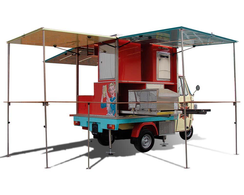 ape car piaggio allestita per ristorazione e vendita ambulante