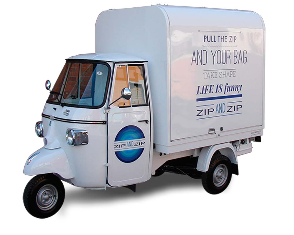 mobile boutique for vending bags and promotion - zip & zip