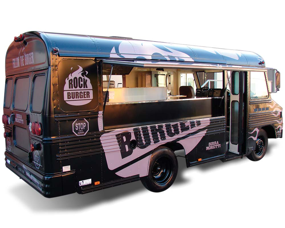 Americano food truck per vendita hamburger rock