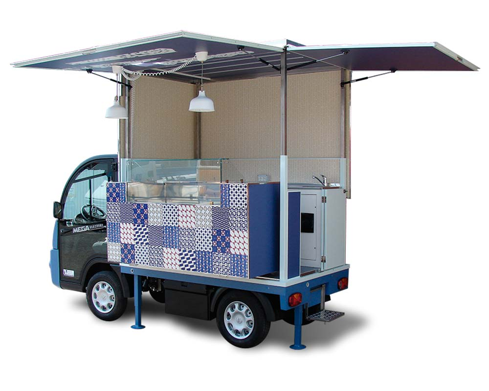 food truck elettrico pasticceria mignon su mega e worker