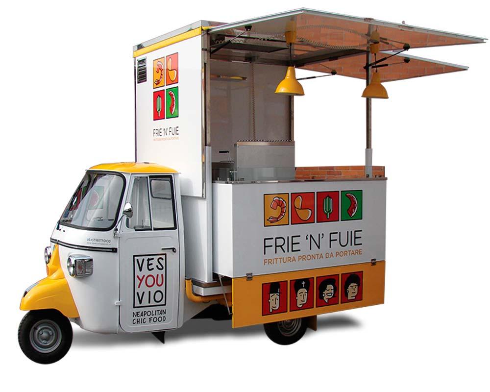 piaggio ape imbisswagen mit friteuse f r ambulanten verkauf. Black Bedroom Furniture Sets. Home Design Ideas