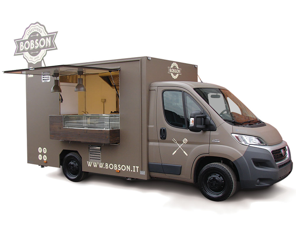 Ducato van designed with professional kitchen for street food vending in Milan